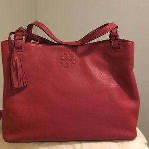 Tory Burch 'Thea' Center-Zip Tote Bag, 'Rust' Red